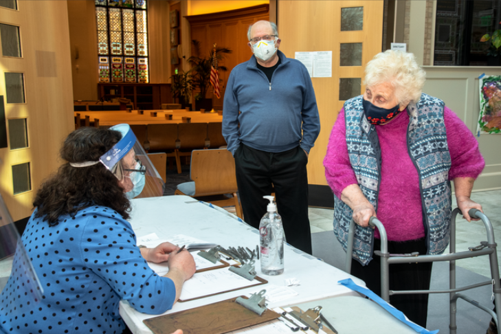 Marianne Kronenburg, 86, and Janet Stein Calm, president of the American Association of Jewish Holocaust Survivors & Descendants of Greater Boston (Photo: Ilene Perlman)