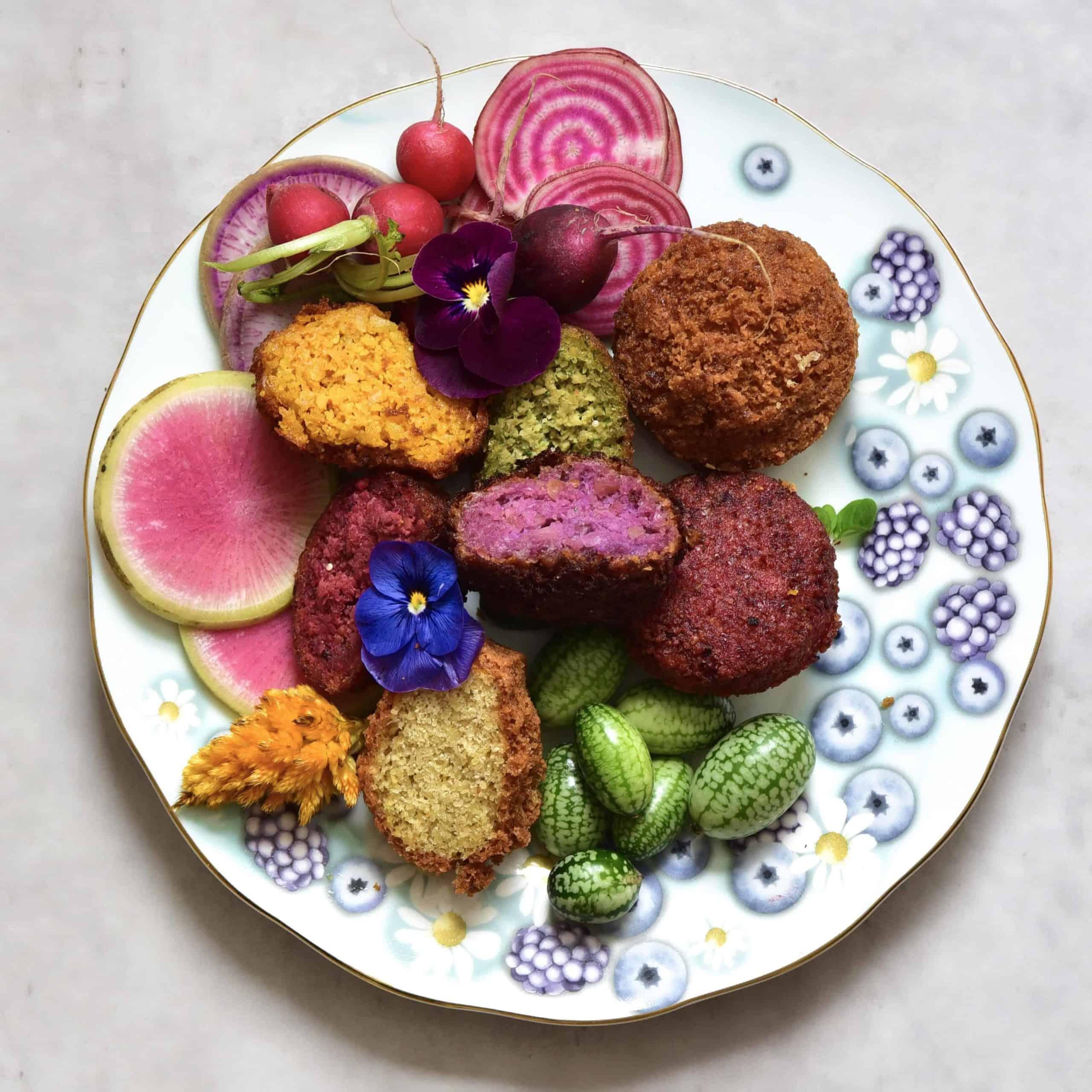 Rainbow vegan falafel