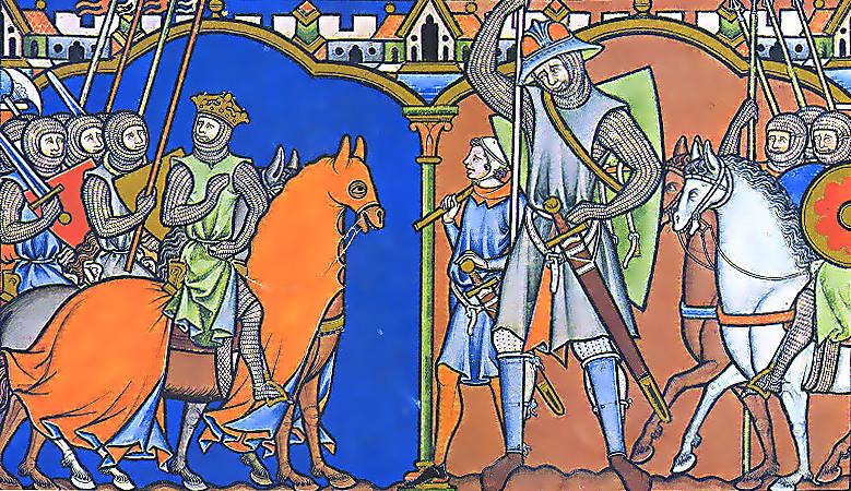 """Goliath Challenges The Israelites"" (Maciejowski Bible via Wikimedia Commons)"