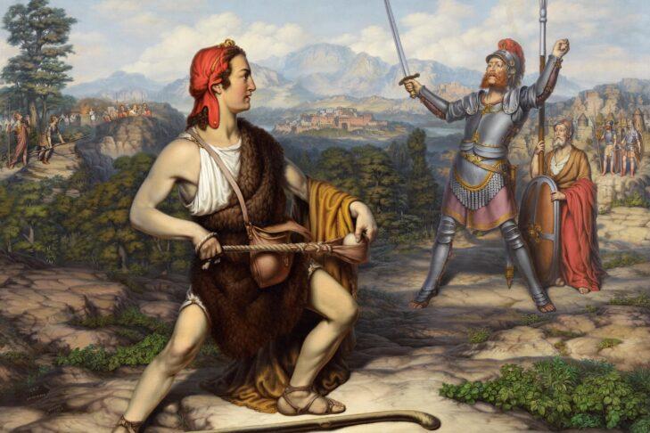 """David und Goliath"" by J. J. Trube, 1877 (Public domain via Wikimedia Commons)"