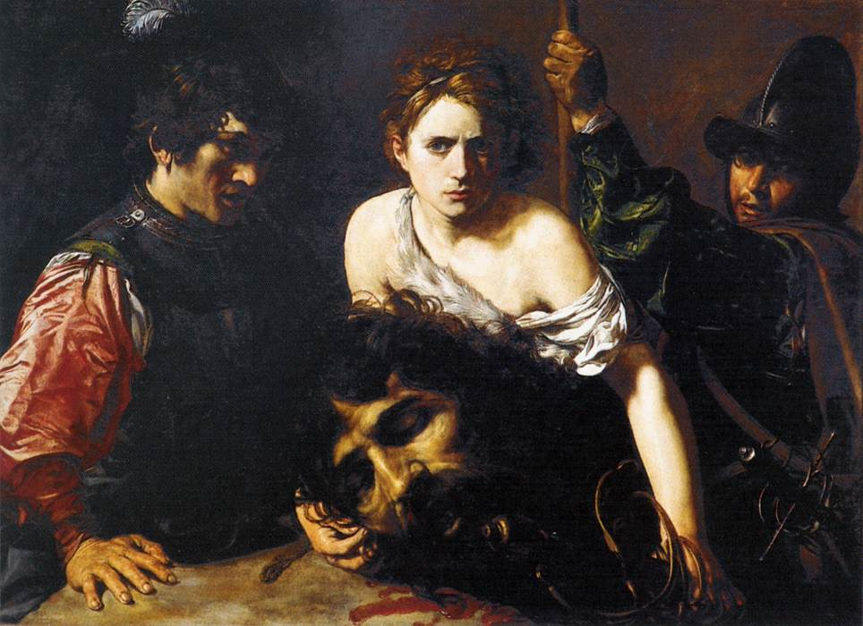 """""""David With the Head of Goliath and Two Soldiers"""" by Valentin de Boulogne, circa 1620 (Public domain via Wikimedia Commons)"""