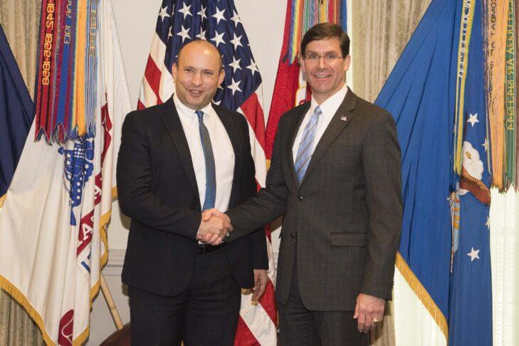 U.S. Defense Secretary Mark Esper holds a bilateral meeting with Israeli Defense Minister Naftali Bennett at the Pentagon on Feb. 4, 2020 (Photo: Department of Defense/Navy Petty Officer 2nd Class James K. Lee)