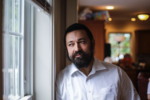 Rabbi Shlomo Noginski at his Brighton home on Sunday, three days after he was stabbed outside the Shaloh House, a Jewish day school.ERIN CLARK:GLOBE STAFF