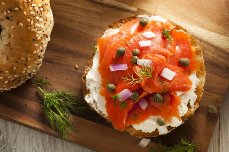 Homemade Bagel and Lox with Cream Cheese Capers  and Dill