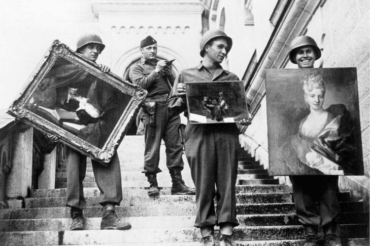 At Schloss Neuschwanstein in southern Bavaria, Capt. James Rorimer, who later would become the director of the Metropolitan Museum of Art, supervises the safeguarding of art stolen from French Jews (Photo: U.S. Army)