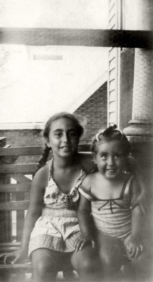 Sheila and Marilynn on the front porch on Sea Foam Avenue in Winthrop in 1944 (Photo: Harry Brass)