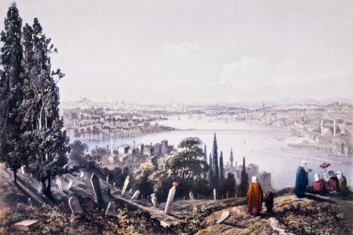 """Engraving of Bosphorus, General view, Istanbul,  Turkey, Asian side and European side. Illustration from """"Book of  Illustrations of Constantinople"""", dated 1838"""