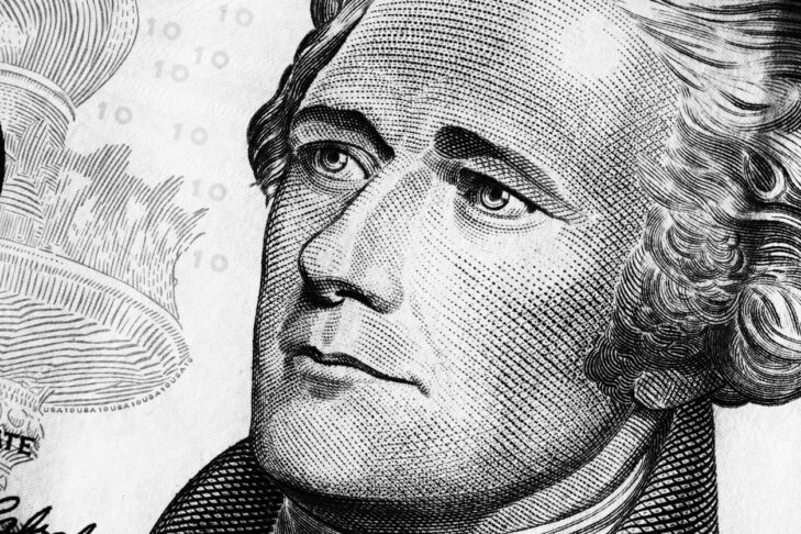 Portrait of Alexander Hamilton on the Ten dollars bill. Black and white. Close up.
