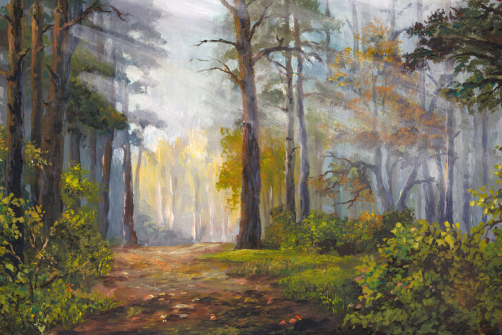 autumn morning in the forest, acrylic painting