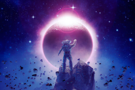 3D illustration of science fiction scene showing astronaut viewing solar eclipse from mountain surrounded by asteroids in space