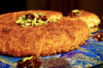 Tahchin with saffron, barberries and pistachios