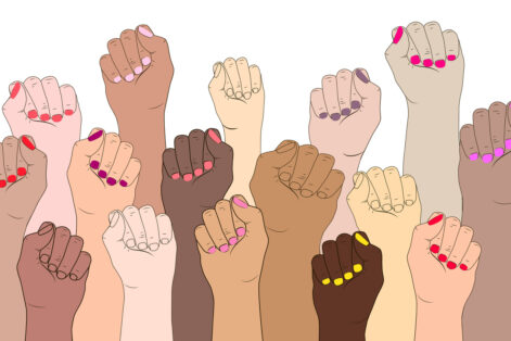 Vector illustration concept of International women feminism. Female fingers with manicure isolated.