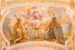 Rome, Italy - March 11, 2016: Rome - Sacrifices of Cain and Abel by V. Salimbeni (1568 - 1613) and B. Croce (1558 - 1628). Fresco from stairs in church Chiesa di San Lorenzo in Palatio ad Sancta Sanctorum.